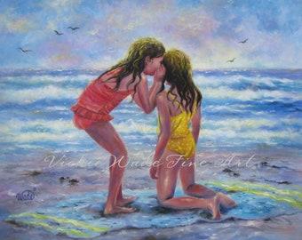 Sea Secrets Art Print beach girls, two beach sisters, whispering, best friends, wall decor, ocean, Vickie Wade art