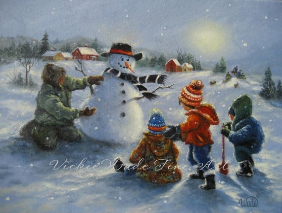 Snow man and Four Boys Original Oil Painting, snowman paintings four boys playing in snow winter children, Vickie Wade art