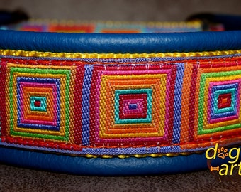 "Dog Collar ""Crazy"" by dogs-art, martingale collar, leather dog collar, colorful dog collar, slip dog collar, dog collar, collars, dog"
