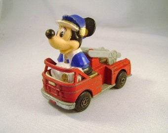 Rare Vintage Mickey Mouse and Smurf Fire Trucks