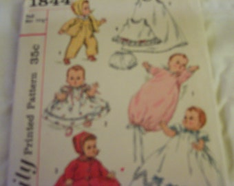 vintage simplicity printed pattern number 1844 from the fifties doll clothes