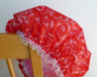 Waterproof Shower Cap Red White Swirls Damask Durable Soft Vinyl Cap with Soft Nylon Fabric Liner Christmas