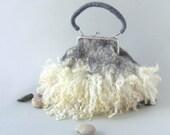 Felted handbag Grey Fur locks purse