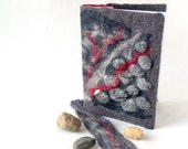 Felted journal notebook cover  Grey stones   gift under 25