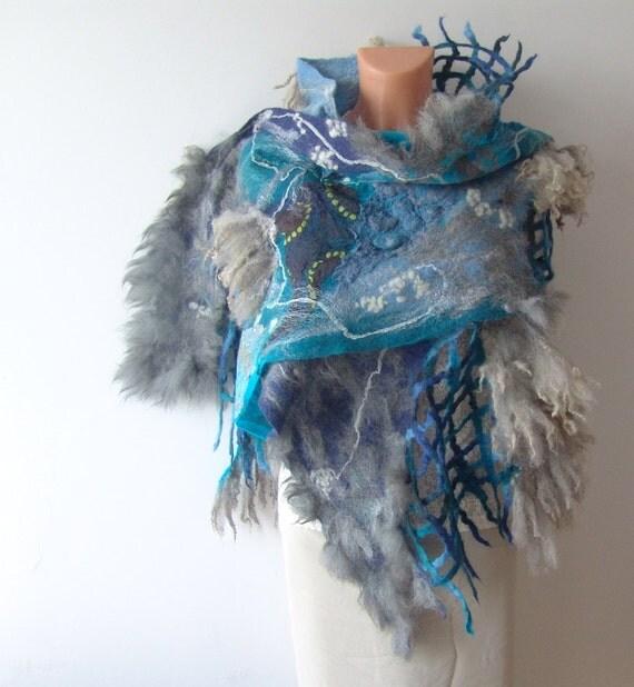 Nuno felted scarf  - Grey Turquoise  Fur locks