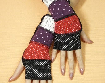 Vagabond Armwarmers with Polka Dot, Multicolor Fingerless Gloves, Black, Red, Purple Upcycled Look Sleeves, Hippie and Boho Styles, Recycled
