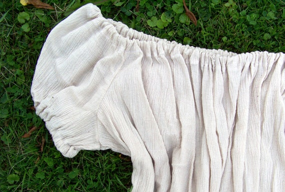 Chemise in Taupe/off white Cotton Gauze Small/ Medium/ Large - Short sleeve layer under corsets, bodices