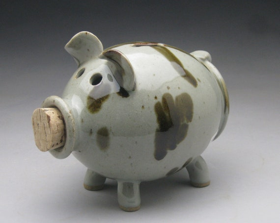 Black Brown And White Ceramic Piggy Bank