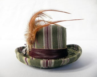 Hat Steampunk Green Striped Mini Top Hat with Feathers and Gear