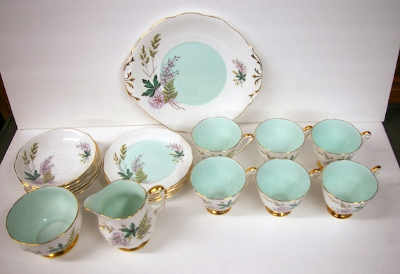China Cup and Saucer Set Lunch Brunch or Dessert  21 piece set Queen Anne Bone China Late 1980's to 1992 On SALE till Monday
