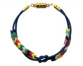 Leather Friendship Bracelet- colorful vintage African snake beads on soft blue Greek leather cord and magnetic clasp