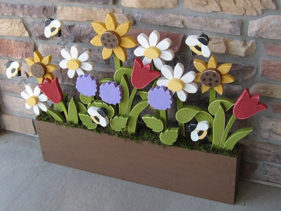 FLOWER BOX With Daisies, Sunflower, Tulips, Lilac and Bees for home decor, door hanger, mothers day and spring decor