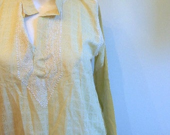 vintage. Light Green Cotton Indian Tunic / Embroidered Cotton Tunic / S M