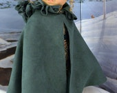 Loden Green Irish Kinsale Cloak for American Girl Dolls Marie Grace, Cecile, Elizabeth, Rebecca, Felicity and Other 18 Inch Friends