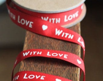 With Love Red Ribbon christmas valentine deco ribbon