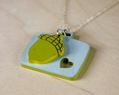 "Charm Necklace ""The Nester"" - Petit Baby Acorn in Tow with Vintage Suitcase"