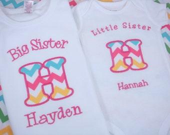 Big Sister Shirt - Big Sister Gift - Big Sister Little Brother Shirts - Big Sister Chevron Shirt - Little Sister Chevron Shirt