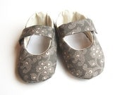 Grey Floral Baby Slippers Mary Janes Size 0 to 12 mth plus