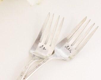 Cottage Chic Mr. Mrs. Wedding Cake Forks 1919 -1973 Ambassador Recycled Flatware