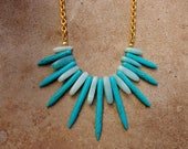STORE CLOSING - Final Markdown - Amazonite and Turquoise Howlight Statement Necklace on Vintage Gold Chain
