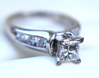 Certified - Diamond Engagement Ring - Princess Cut 14k white gold - 7 stone - 1.50 carat - weddings - Channel set - custom made