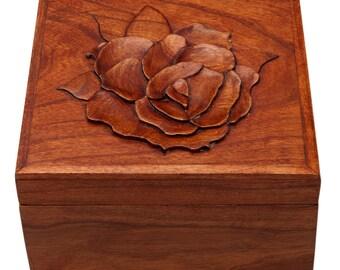 Wood Jewelry Box Trinket Box Cherry with Raised Rose, Custom Order