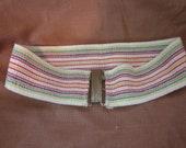 Vintage Striped Homemade Wide Elastic Belt Primary Color Stripes