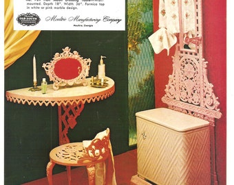 Big Advertising Card - Cast Aluminum Vanity Set Picture 1960s Moultrie Manufacturing Co., English Towel Rack,  Mirror, Table