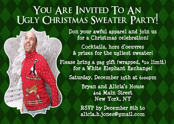 ugly sweater invitation christmas party invite ugly sweater, Party invitations