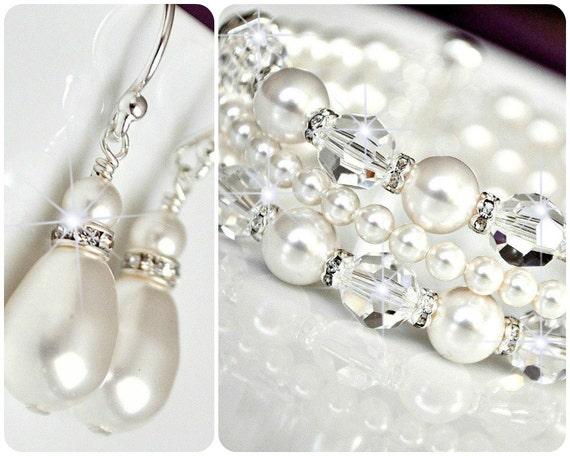 wedding jewelry bracelet set pearl wedding jewellery
