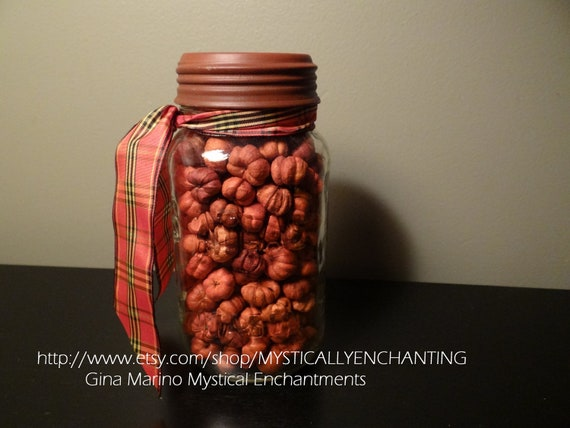 SALE Autumn Thyme Atlas Mason canning jar filled with mini dried pumpkins