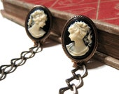 Vintage Cameo Sweater Guard Clip - Black and Ivory - Antiqued Brass