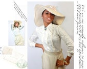 vintage womens 1950s ivory silk bodysuit blouse