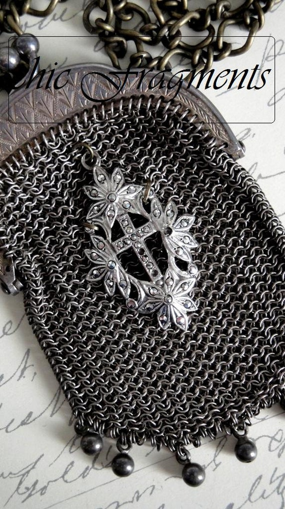 VICTORIAN Antique Mesh Chatelaine Coin Purse. Sterling Silver Marcasite Cross. Petite Size. With Bonus French Chaplet Rosary