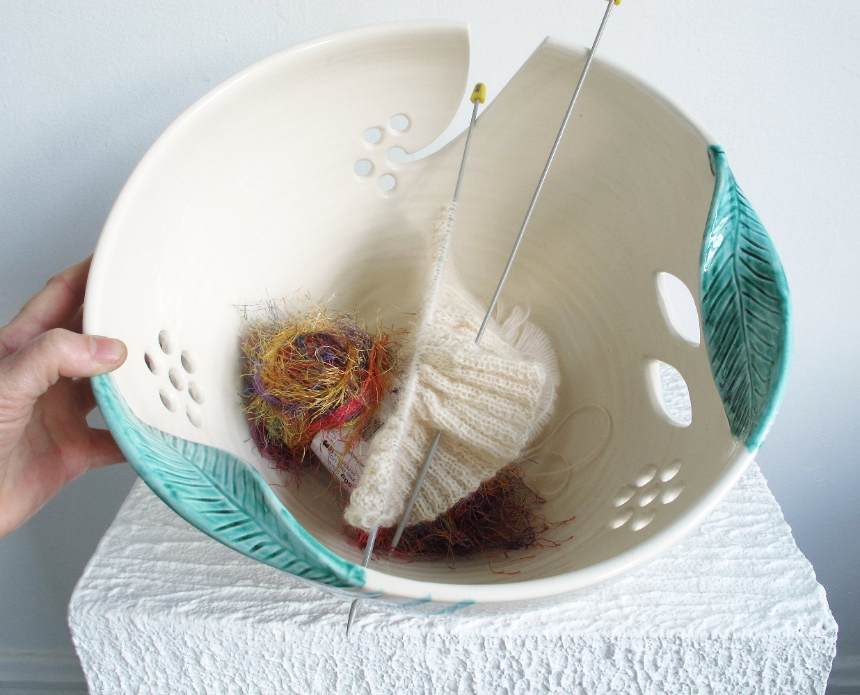 Knitting Yarn Bowl : Yarn bowl jumbo extra large knitting ceramic holder