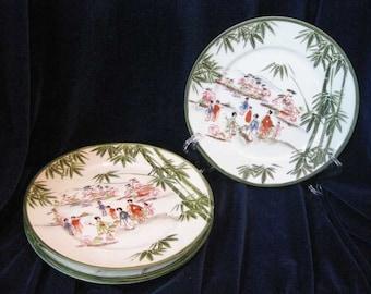 Vintage Japanese Handpainted Geisha Plates(4)