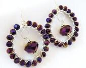Purple Crystal Hoop Earrings, Halloween Purple Earrings