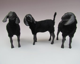 Handmade Porcelain Animal Figurines, Nubian Goat Black
