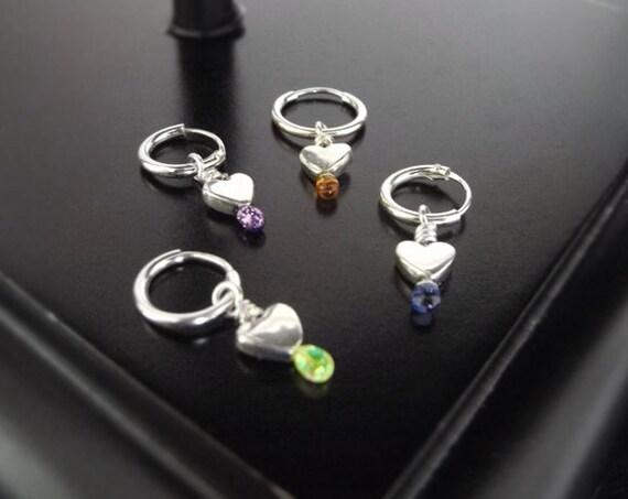 Sterling Silver Tiny Heart Hoop Earrings - Amber - Small Silver Heart Earring on Hoops, Hoop Earrings, Bridal Earrings, Bridesmaids Earrings