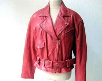 vintage 80's red classic cropped racer motorcycle leather jacket.  size medium