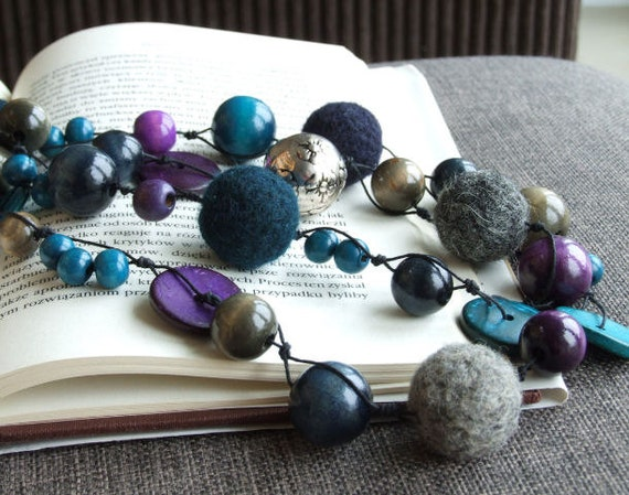Extra long Necklace beaded, blue navy blue grey teal FALL FASHION Necklaces