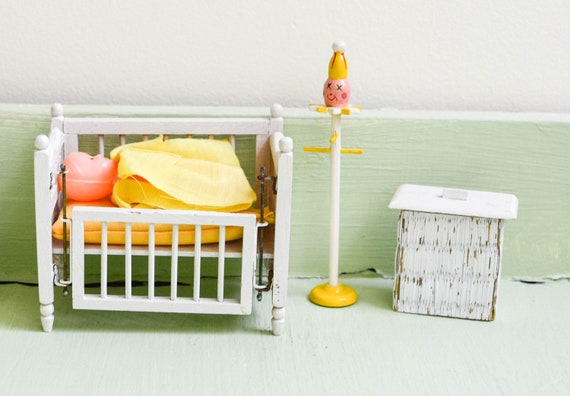 Items Similar To Vintage Mini Dollhouse Baby Room Nursery