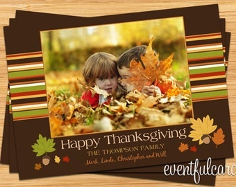 Customizable Thanksgiving Family Photo Greeting Card - Printable