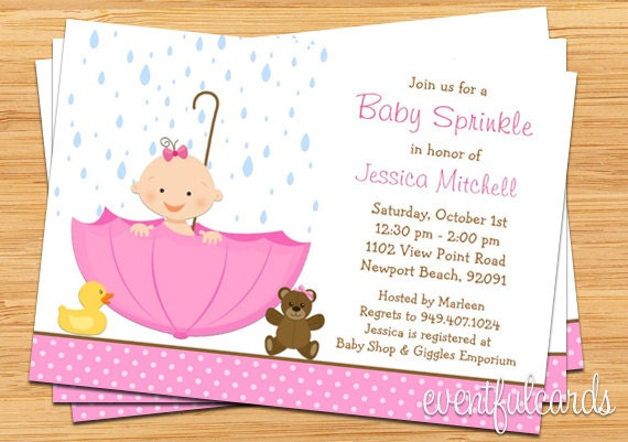 baby sprinkle shower invitation for girl also available in, Baby shower invitations