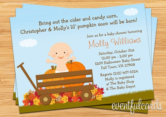 fall halloween pumpkin baby shower invitation boy or girl, Baby shower invitation