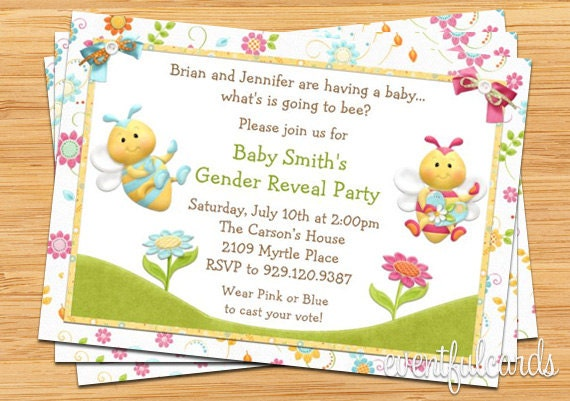 Bee Gender Reveal Party Invitation Pink and Blue by EventfulCards – Invitations for Gender Reveal Party