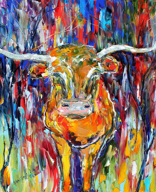 Original Texas Longhorn Palette Knife Painting Oil Impasto On