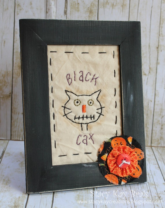 Handmade Primitive Fall/Halloween Black Cat Framed Stitchery