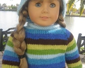 """That 70's Sweetie Striped Pullover Sweater for 18"""" Doll: with hat or headband"""