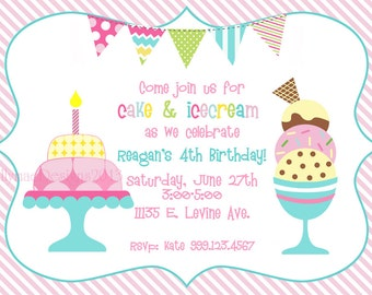 Cake and Ice Cream Birthday Party Invitation - Digital File